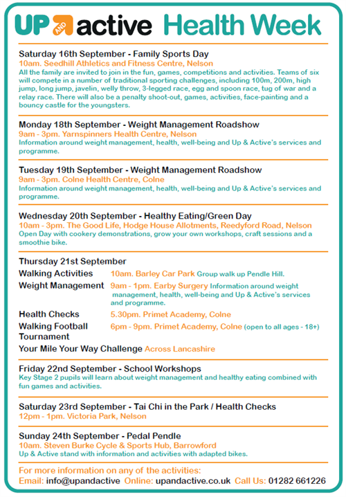Pendle Health Week timetable